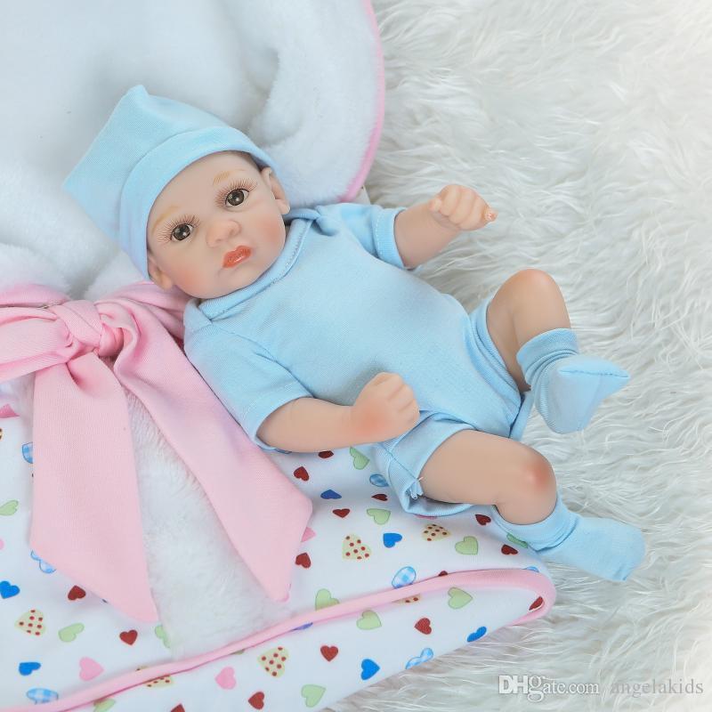 전신 실리콘 reborn 아기 인형 Reborn Baby Dolls Handmade Reborn 11 인치 진짜 찾고 신생아 아기 소녀 실리콘 현실 인형