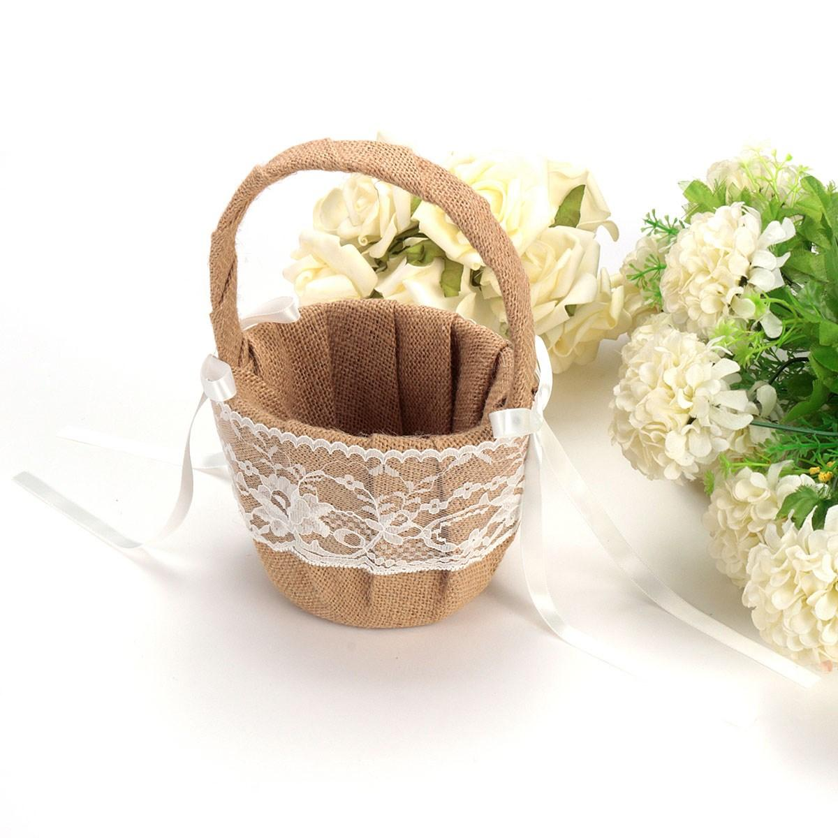 Online Cheap Wholesale Bridal Party Hessian Burlap Wedding Basket