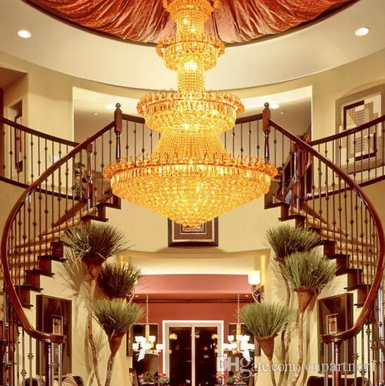 High End Luxury Crystal Chandelier Hotel Lobby Lamp Villa Living Room Golden Royal Family Crystal Chandeliers Interior Decoration Lights Decorative