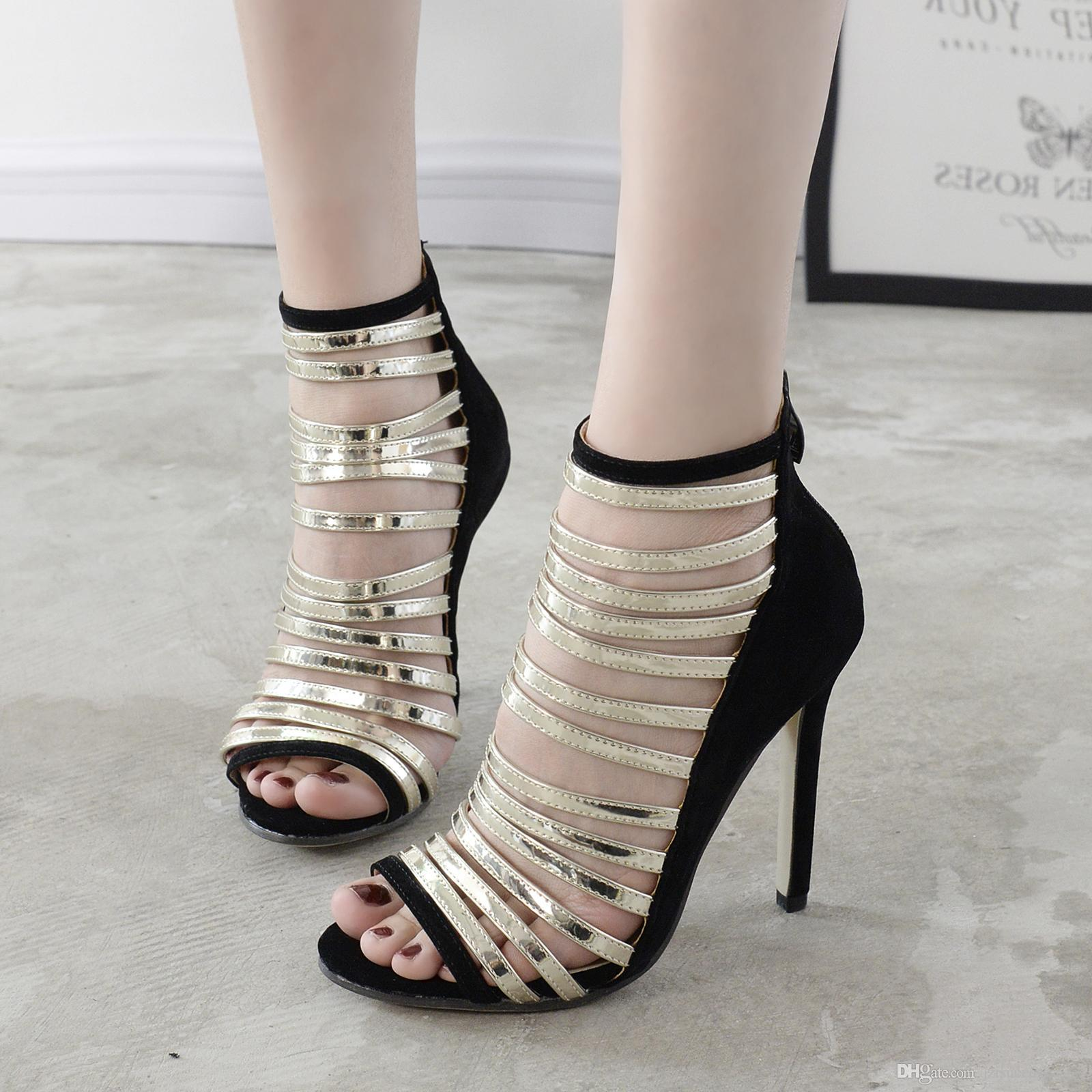 a7e3435424e0 Arden Furtado 2018 summer boots new style sexy high heels 12cm gladiator  stilettos big size narrow brand night club shoes woman ladies Item NO   427512