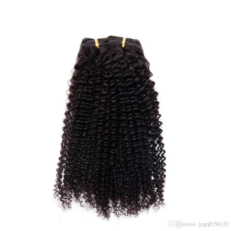 Pince à cheveux bouclés crépus mongole dans Extensions de cheveux humains 70g Nautral Couleur Clip-in Pleine Tête Cheveux non-remy