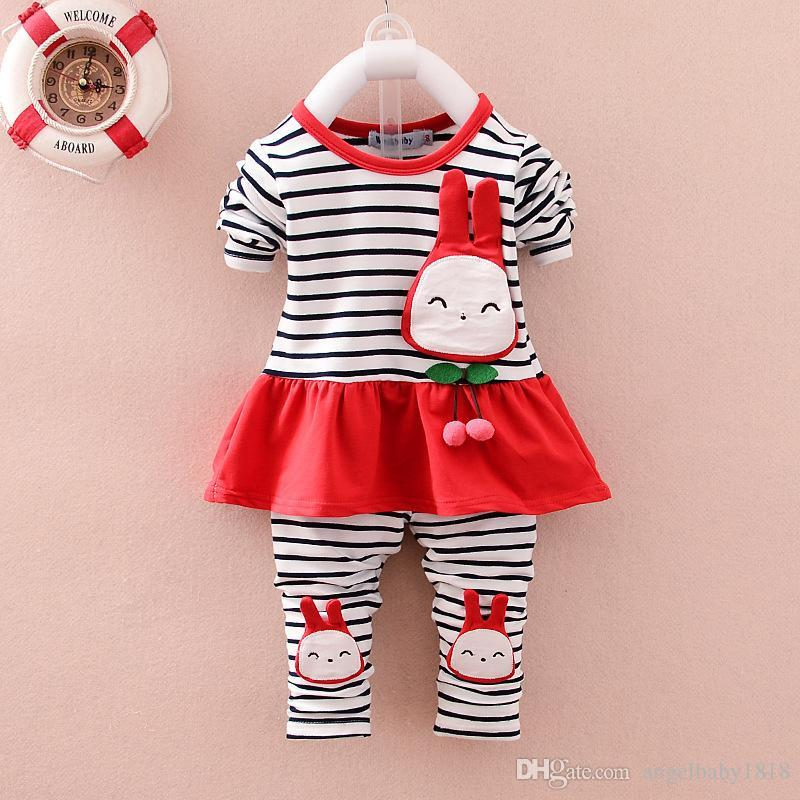 2017 New Princess Girls Outfits Sets Striped Rabbit Shirts Tops + Pants Leggings 2pcs Set Suits Girl Cute Cartoon Sets Red Pink