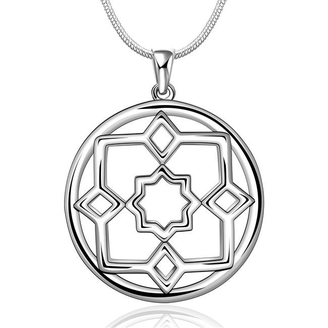 wedding Disk engraved women's sterling silver plate Necklace,fashion 925 silver pendant Necklace with chains GN687