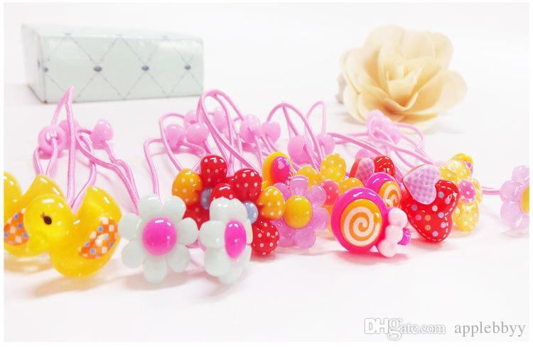 Children handmade hair rope Korean cartoon multi - color leather feet rope fashion elastic rope resin hair accessories wholesale