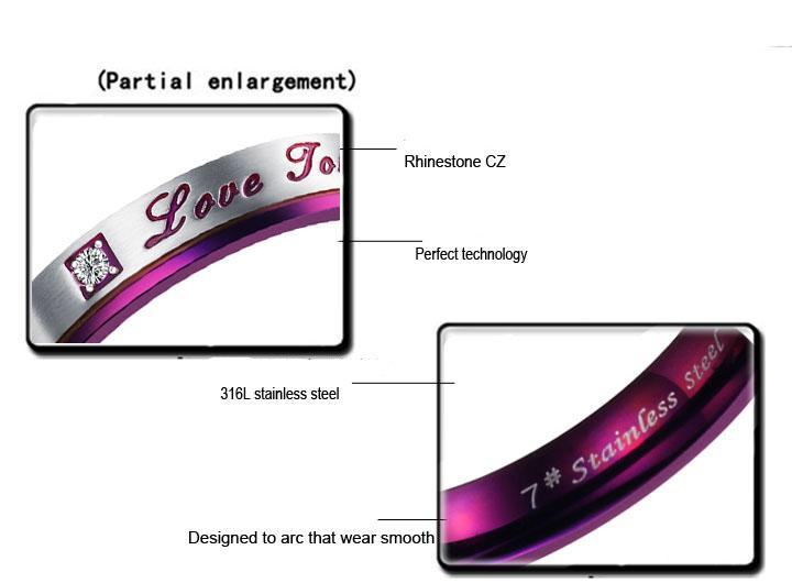 Нержавеющая сталь обручальные кольца Любовь ювелирные изделия пара карбида вольфрама кольцо 18k позолоченные Властелин колец обручальное кольцо фиолетовый цвет