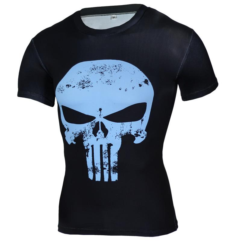 New wholesale Fitness Compression Shirt Men Anime Superhero Punisher Skull Captain Americ 3D T Shirt Bodybuilding Crossfit tshirt