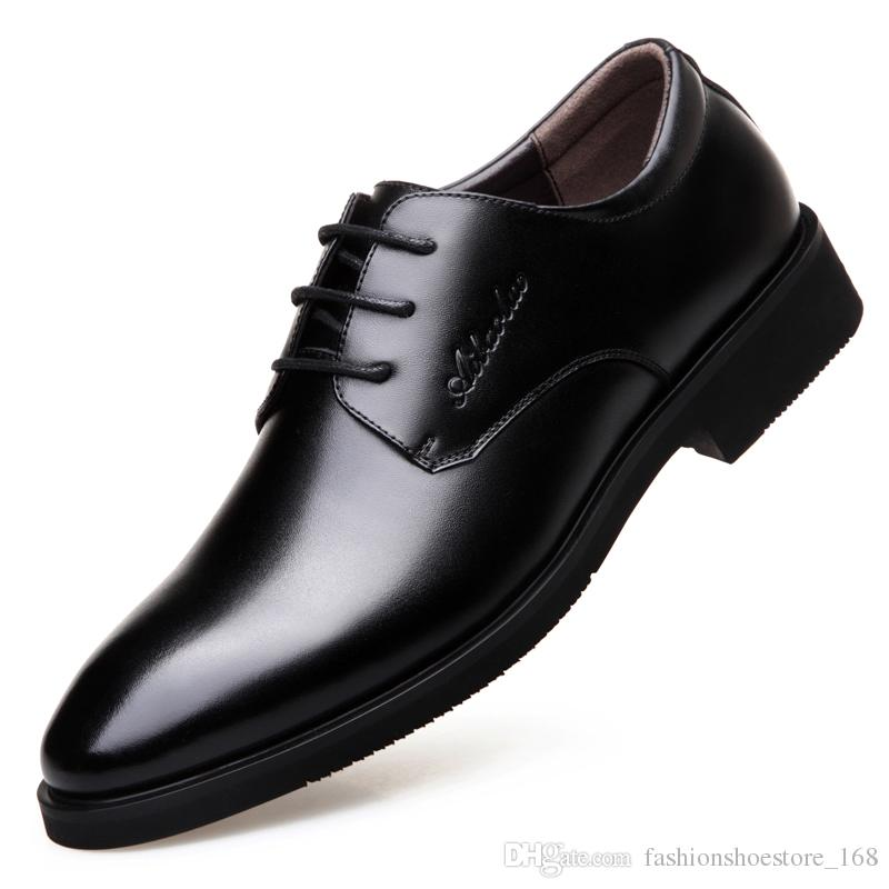 442998a7d New 2017 Business Dress Men Formal Shoes Wedding Pointed Toe Fashion Genuine  Leather Shoes Flats Oxford Shoes For Men Navy Shoes Driving Shoes From ...