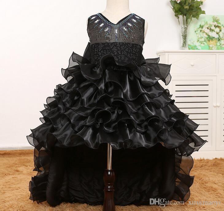 Train Tail Girls Black Tutu Dress V-Neck Baby Bridesmaid Flower Girl Dress Tulle Ball Gown Kids Halloween Evening Party Dresses