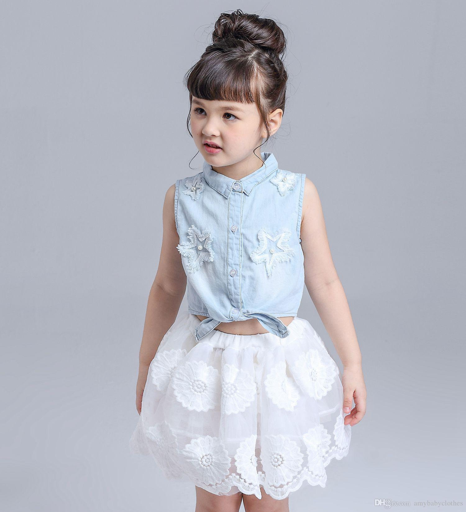 2018 Girl Dress Set Outfits Baby Clothes Girls Sets Cute Demin Jeans