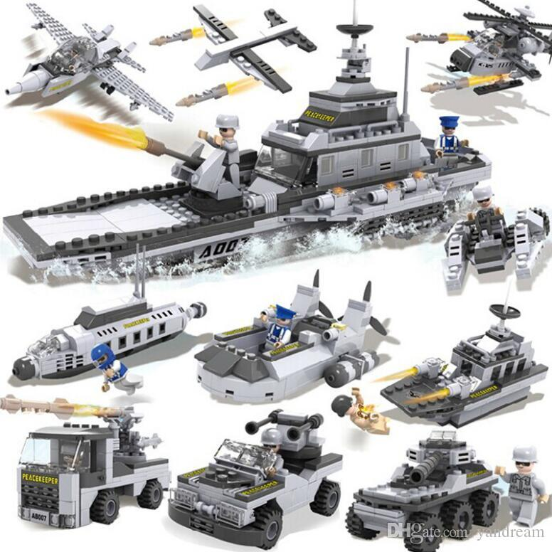 8 in 1 Children 's Puzzle Assembling Building Blocks DIY Military Battleship Aircraft Tank Model Children's educational toys gifts