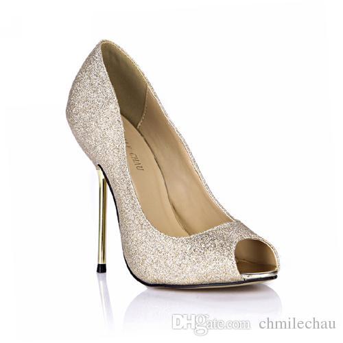 CHMILE CHAU Spring Glitter Sexy Wedding Party Women Single Shoes Stiletto  Iron High Heel Peep Toe Fashion Bridal Ball Ladies Pumps 3845 A6 Womens  Loafers ... e8065011d463