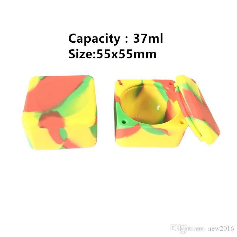 Carré Séparé Joint Silicone Dab Conteneurs Dab Bho Non Stick Pot 37 Ml Grand Silicone Conteneur Livraison Gratuite