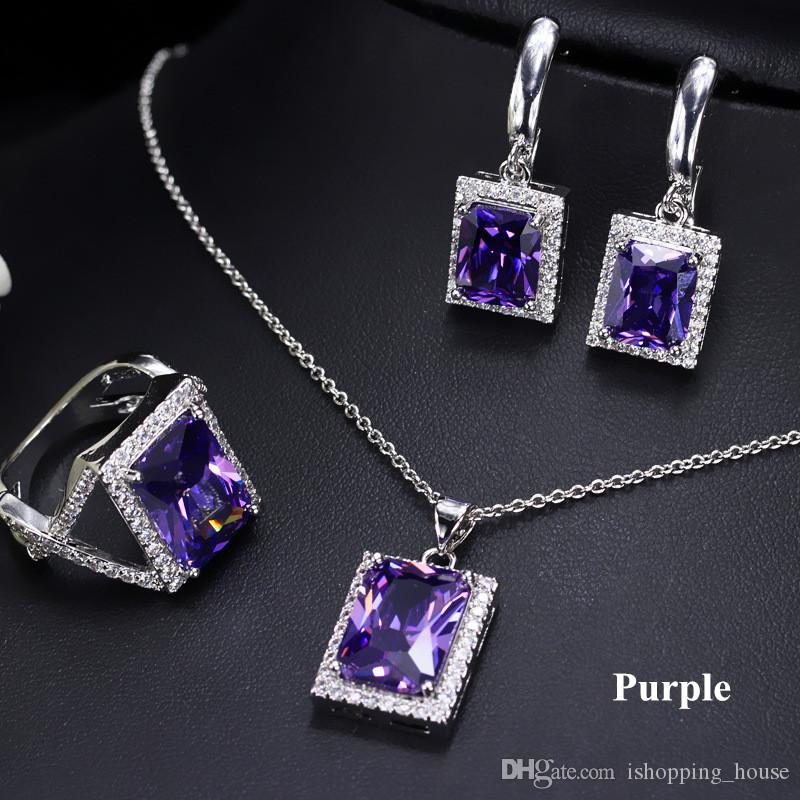 Luxury Jewelry Set for Party 18K White Gold Plated Square CZ Earrings Necklace Ring Set for Women for Options LY-034