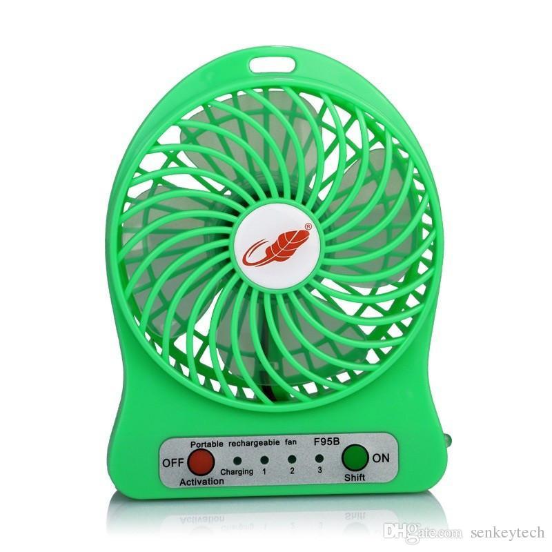100% Test Şarj Edilebilir LED Işık Fan Hava Soğutucu Mini Masası USB 18650 Pil Perakende Paketi ile Şarj Edilebilir Fan PC Dizüstü Bilgisayar için