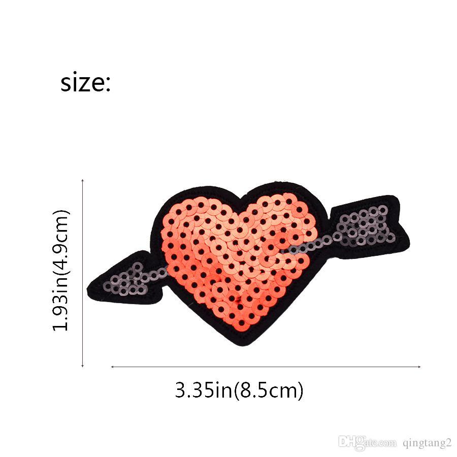 Pailletten Pfeil der Liebe Patch für Kleidung Taschen Eisen auf Stickerei Patches für Kleid Jeans DIY Nähen auf Stickerei Abzeichen Pailletten