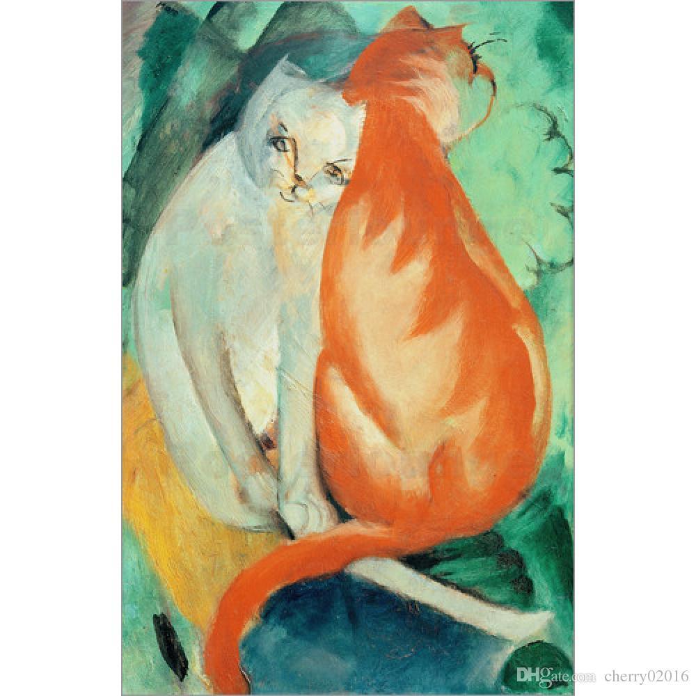 Acquista Dipinti A Mano Di Franz Marc Animal Cats Rosso E Bianco
