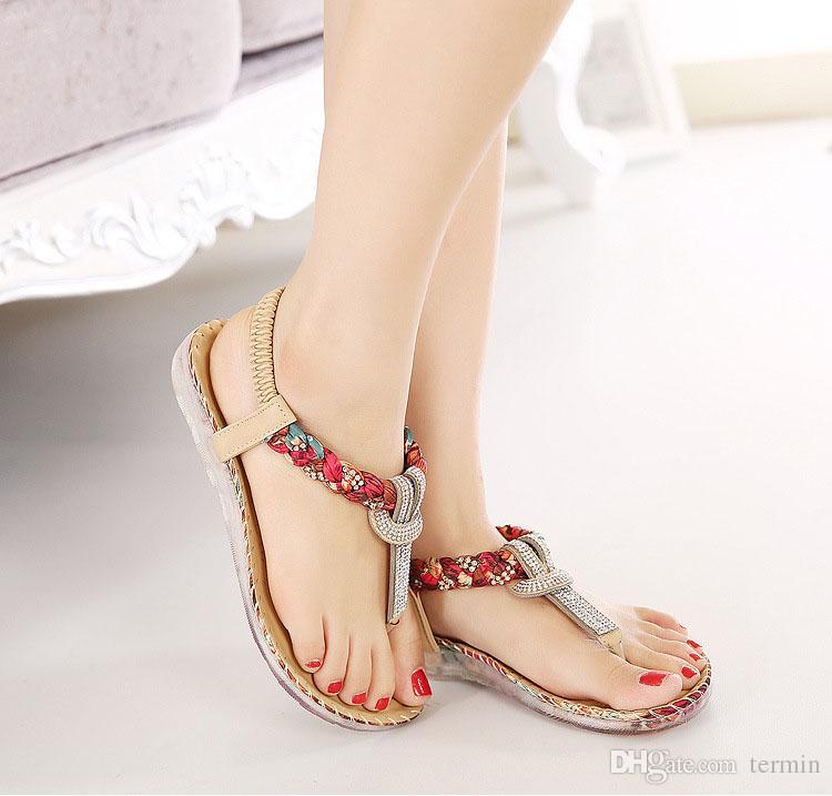Yaz Sandalet Kadın T-kayışı Flip Flop Tanga Sandalet Tasarımcı Elastik Band Bayanlar Gladyatör Sandal Ayakkabı Zapatos Mujer. LX-025