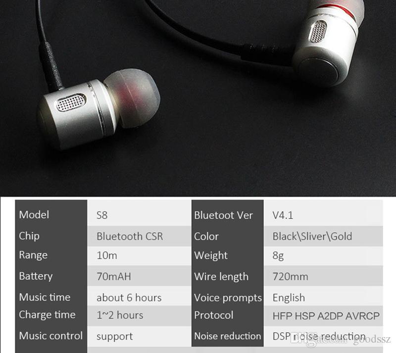 S8 무선 블루투스 V4.1 스포츠 이어폰 이어폰 메탈 이어 버드 DSP 노이즈 감소 Android 용 스마트 폰 / IOS 스마트 폰
