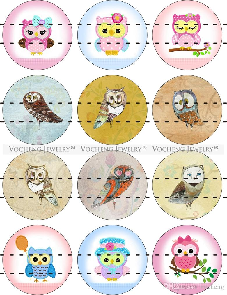 NOOSA Ginger Snap Charms 18mm Glass Snap Button Jewelry Animal Cute Owl Series Colorful Mixed Wholesale VOCHENG Vn-1810