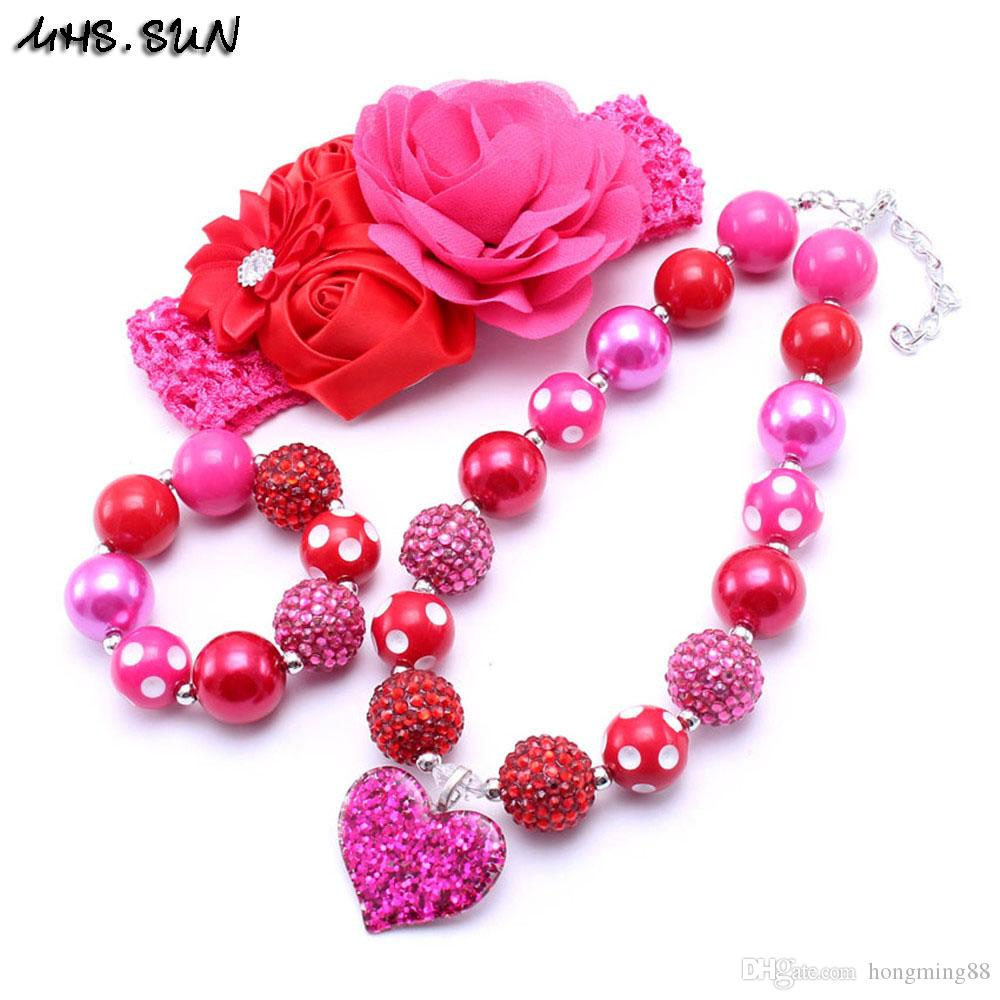 MHS.SUN Pink+Red Color Heart Kid Chunky Necklace Infant Kids ...