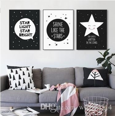 Online cheap modern black white nordic kawaii star quotes art print poster wall picture nursery canvas painting no frame baby room decoration by wlz900514