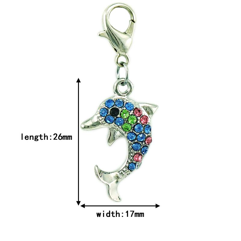 New Arrival Fashion Charms Dangle Rhinestone Dolphin Animals Charms With Lobster Clasp DIY Jewelry Making Accessories