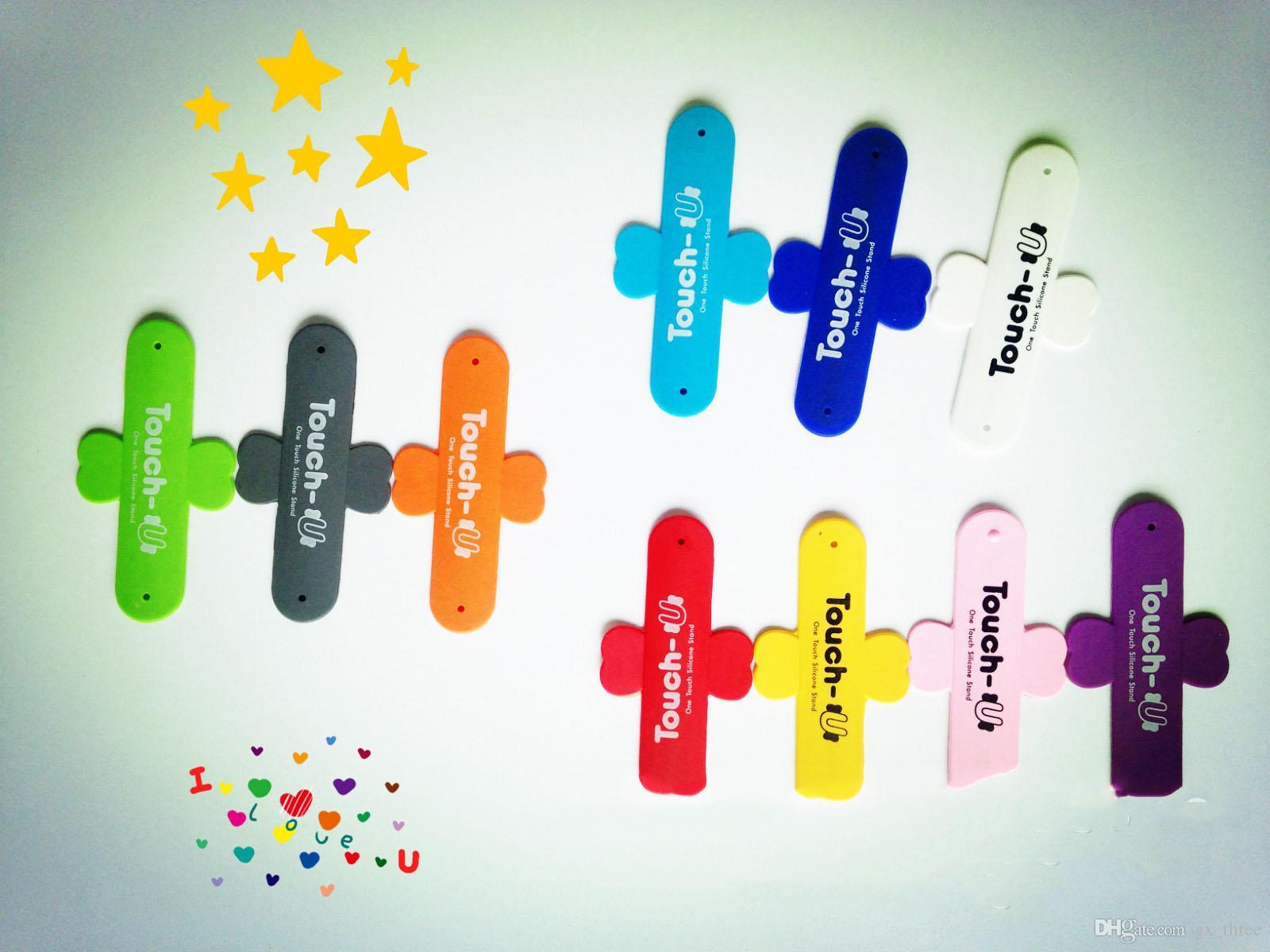 Tragbarer Südkorea-Noten-U-Form Telefon-Stent-Rückseitenpasten-Halter 3M Aufkleber-Noten-Silikon-Kreditkartenslot-Silikonstandplatz für iphone X 8