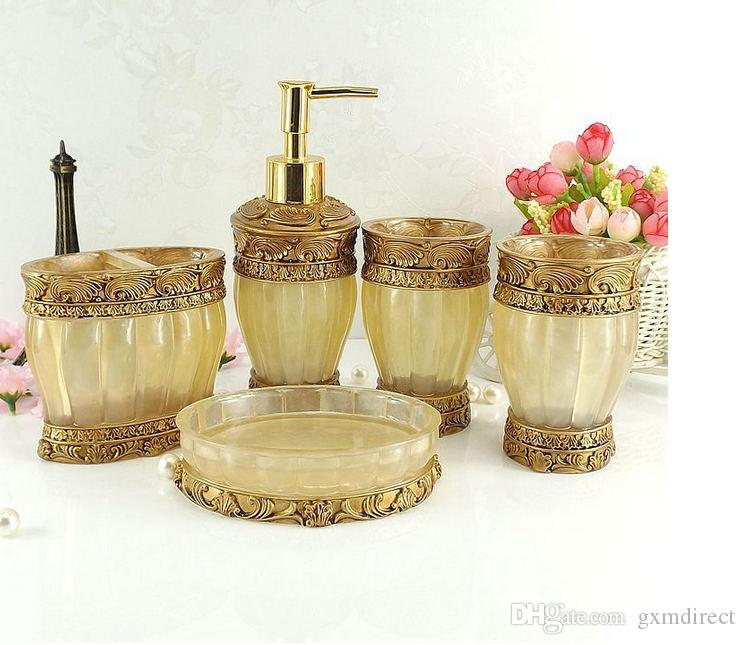 Großhandel High Grade 5 Stück Badezimmer Zubehör Set Gold, Resin ...