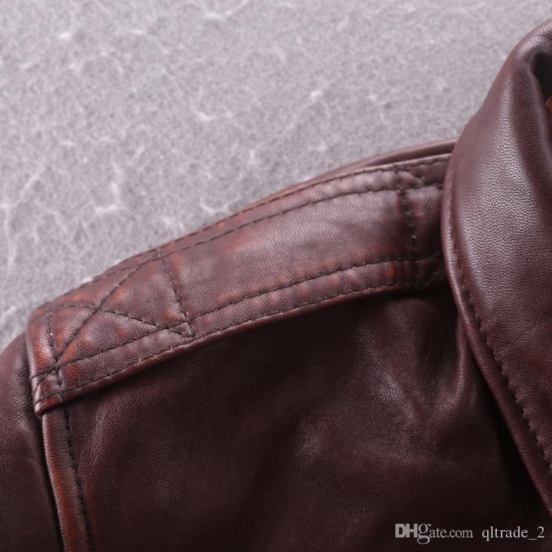 Giubbotti bomber da volo aeronautico A2 rosso vino con giacche da moto in pelle di pecora slim fit con collo a bavero