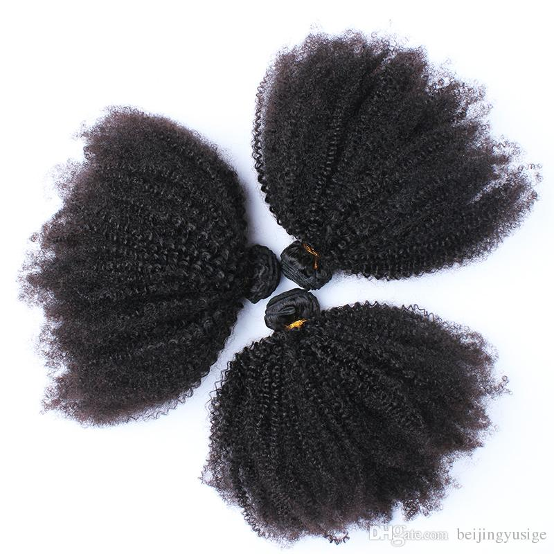 Afro Kinky Curly Human Hair For Black Women Pack Natural Black Color 4B 4C Malaysian Virgin Human Hair Weaves