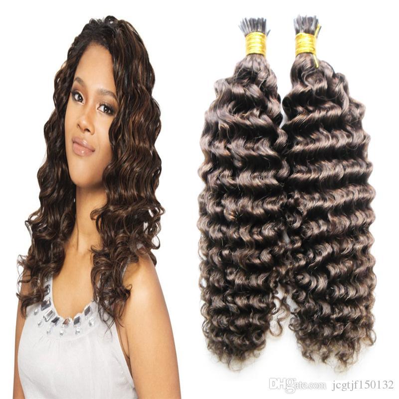 4 Dark Brown Keratin Hair Extension 100gstrands Curly Fusion Hair