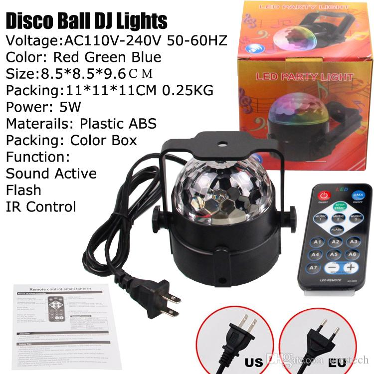Ton aktivierten LED-Partei-Lichter mit IR-Fernbedienung DJ-Beleuchtung, RBG-Disco-Kugel, Stadiums-Gleichheits-Licht der Blitz-Lampen-7 Modi