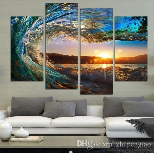 Satın Al 4 Panel Modern Deniz Manzarası Boyama Tuval Sanat Hdsea