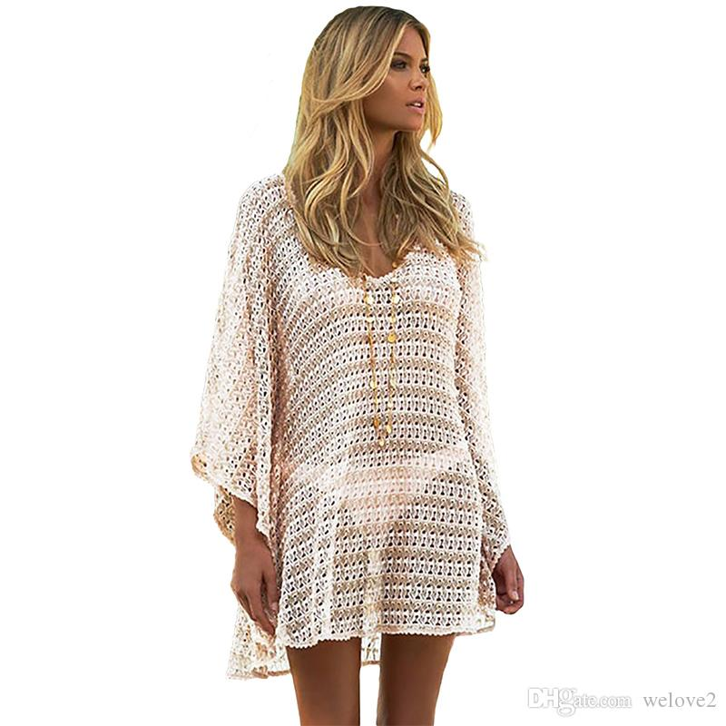 9b76c480a9 2019 New Beachwear Summer Oversize Knit V Neck Short Cover Up Swimsuit Lace  Hollow Out Beach Tunic Women Beach Wear Cover Ups 42177 From Welove2, ...