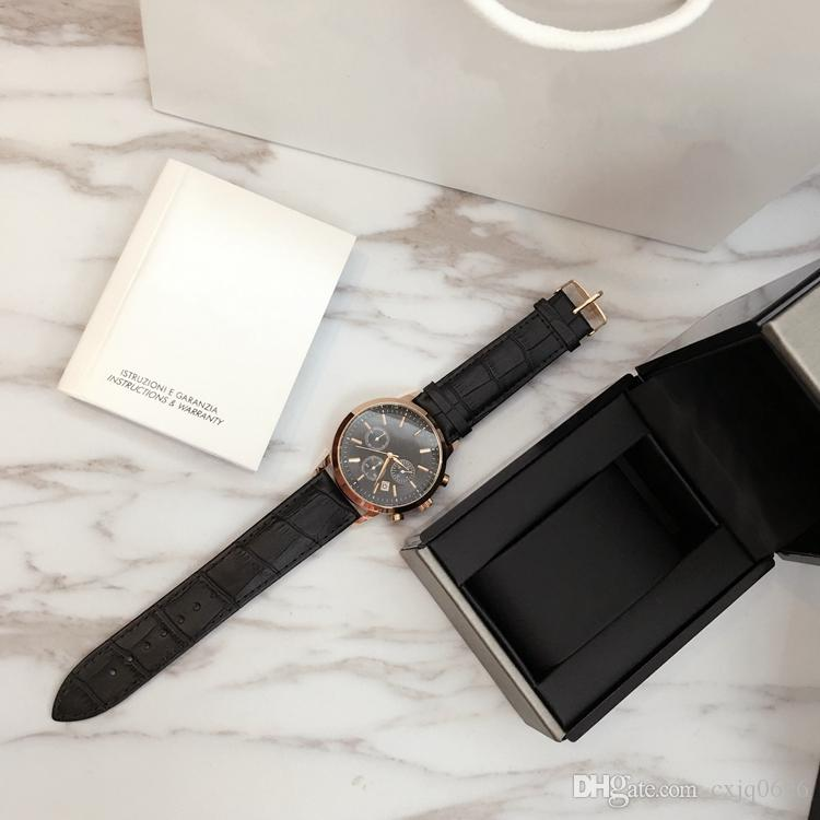 TOP Moda izlemek Lüks Çelik Kuvars Man izle Spor Deri kronometre Kronograf Kol Hayat Su geçirmez erkek tarih saat Sıcak Öğeler