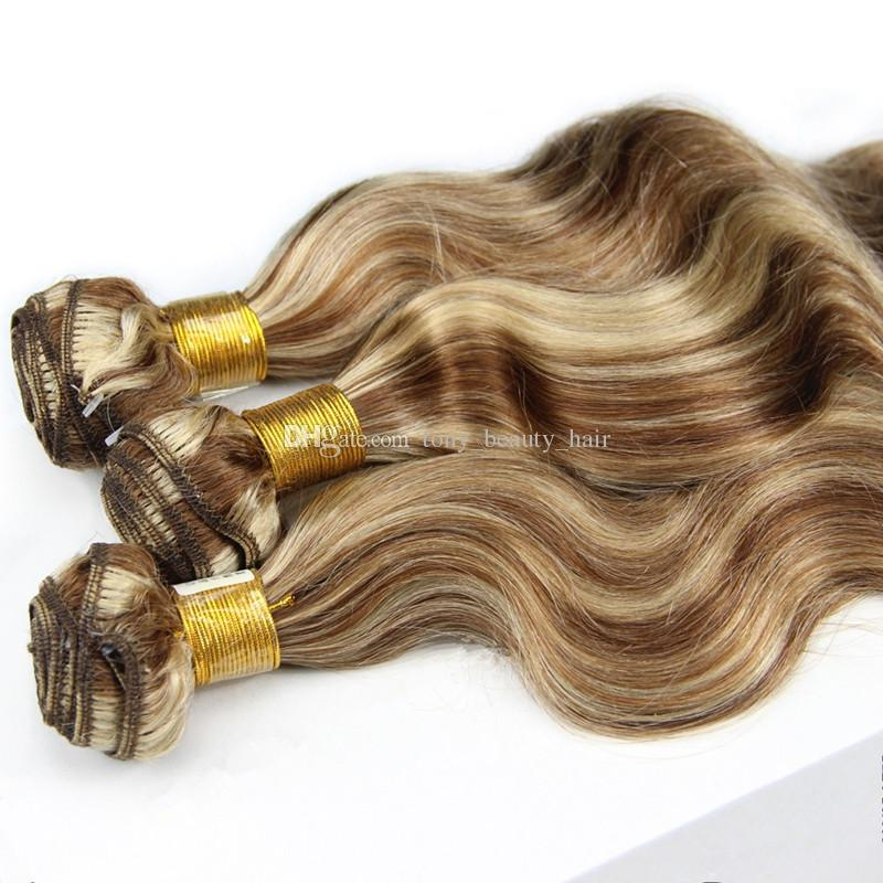 Klavier Farbe # 8 Hellbraun Mit # 613 Blonde Haarwebart 3 Bundles Mischfarbe Ombre Brasilianische Körperwelle Reine Menschenhaarverlängerungen