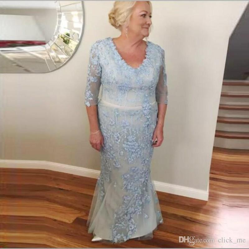 Vintage Plus Size Evening Dresses With Half Sleeves V Neck Lace