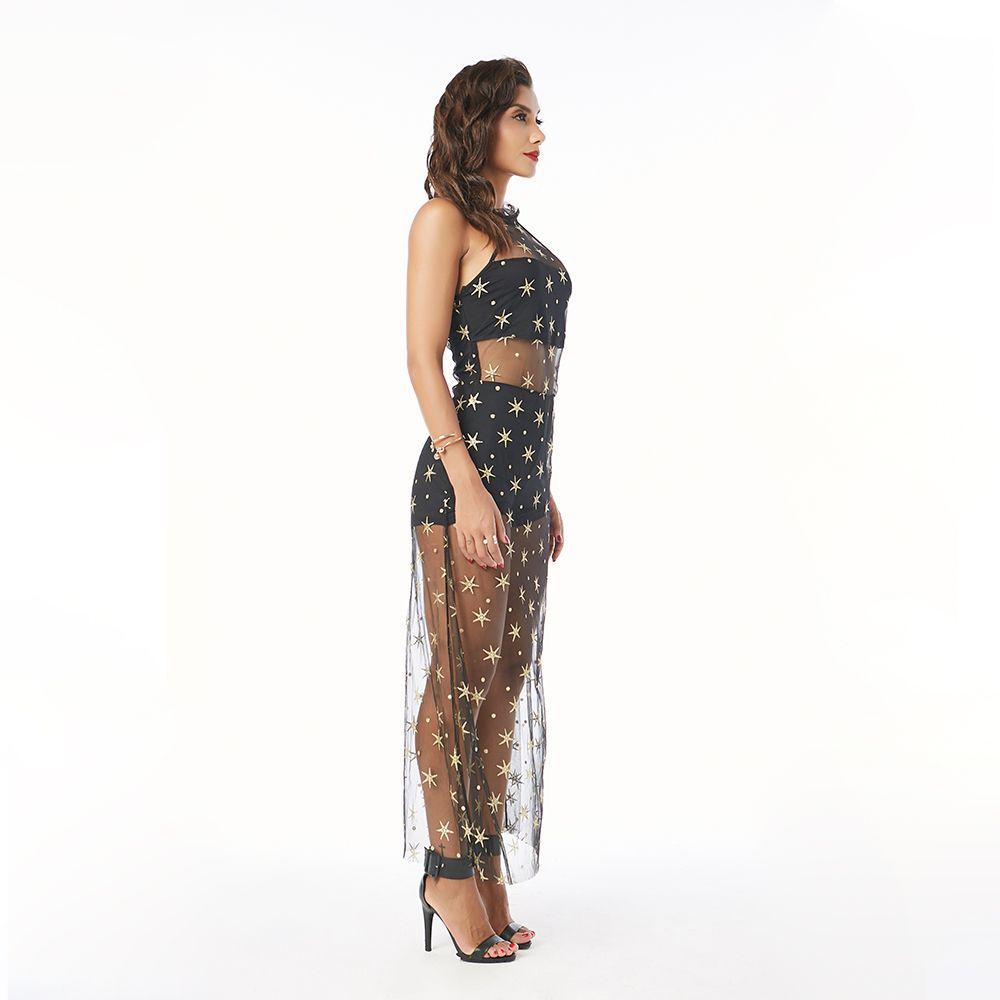 Beauty Garden Women New Fashion Mesh Stars Print Sheer Black Halter Pant skirts Short Rompers Jumpsuits