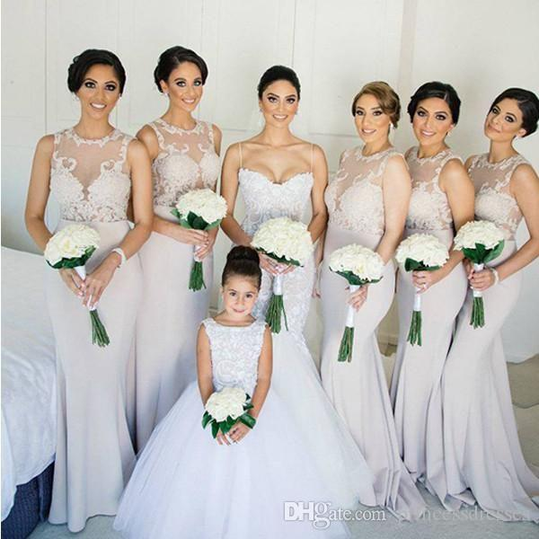 2017 New Plus Size Ivory Lace Bridesmaid Dresses Mermaid Sheer Neck Zipper Back Long Cheap Maid Of Honor Wedding Party Dresses Custom Made