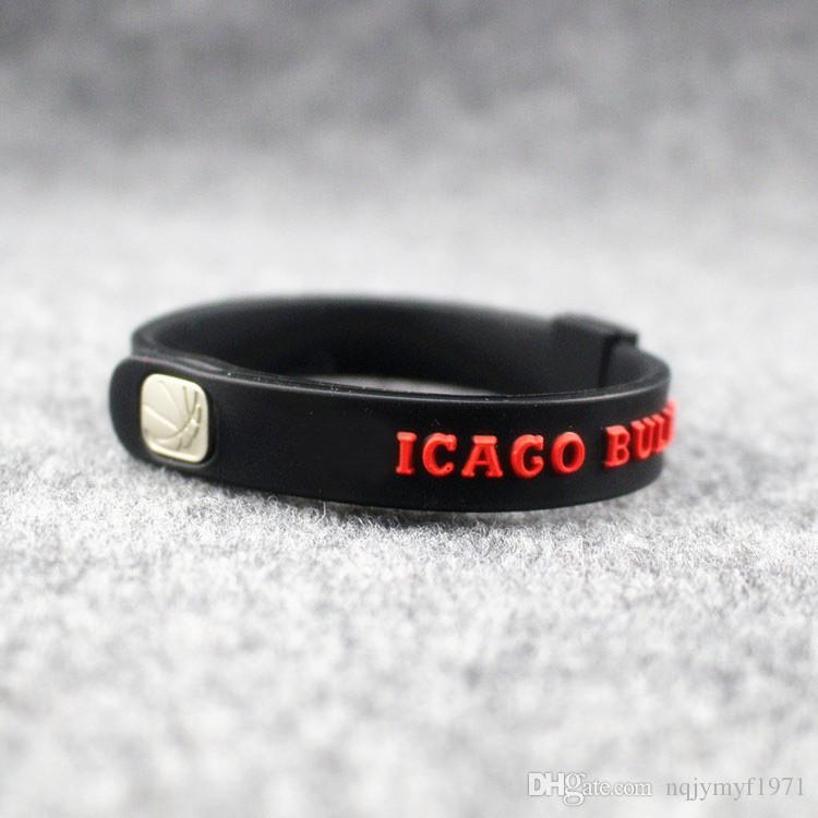 Good quality fashion jewelry silicone energy wristband sport power bracelet balance metal buckle size can adjust bangle for bulls