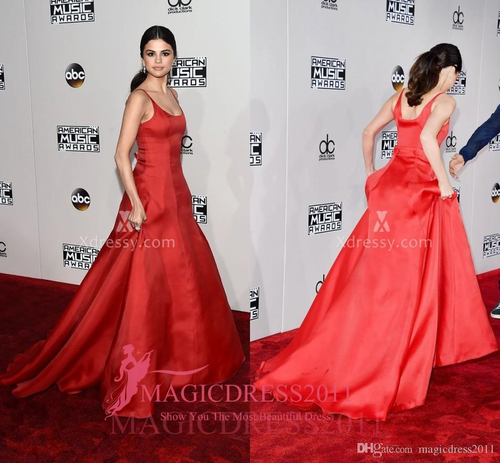 26bc3c3eae8 Selena Gomez Red Satin Celebrity Ball Gown Prom Evening Dresses 2016  American Music Awards A Line Scoop Ruffled Long Celebrity Party Gowns Dress  Gowns ...