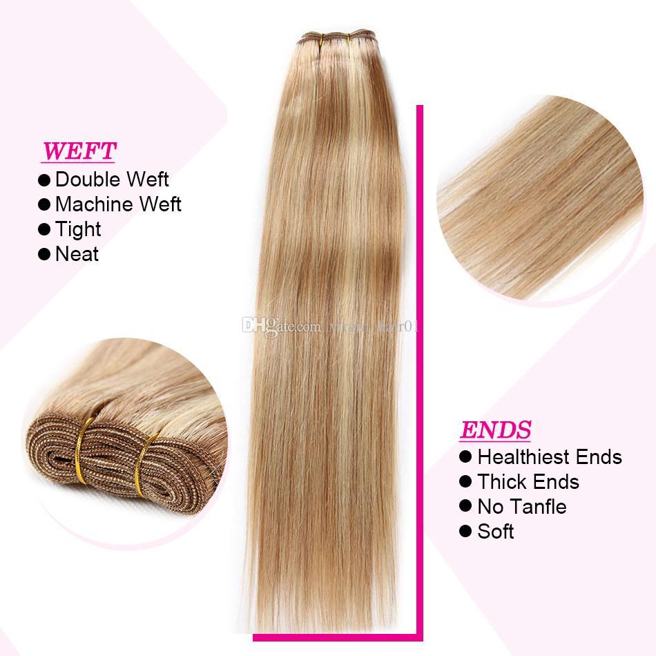 Bundle peruviano di colore misto tessuto dritto capelli umani 3 pezzi piano capelli da sposa # 8 613 Evidenziare capelli umani due toni estensioni di ombre