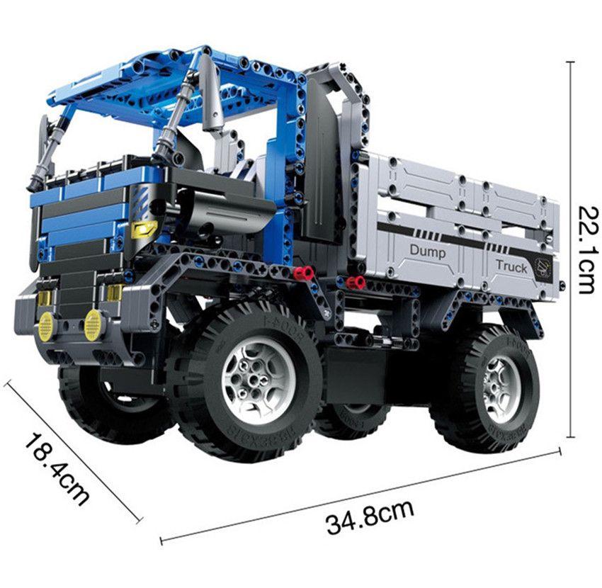 Bulubulu RC Dump Truck Car Building Blocks Charging Remote Control Toys for Boys Kids Educational Model Toys Gift Bricks #21005