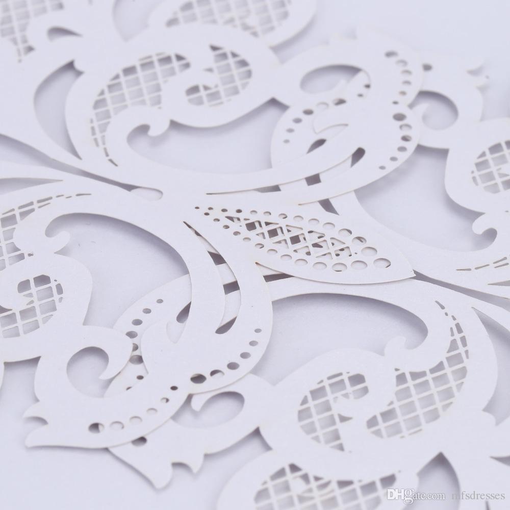 20 Unids Boda Invitación Tarjeta Romántica Decorativa Tarjetas Sobre Delicado Tallado Patrón Invitaciones de Boda Del Partido de Suministro