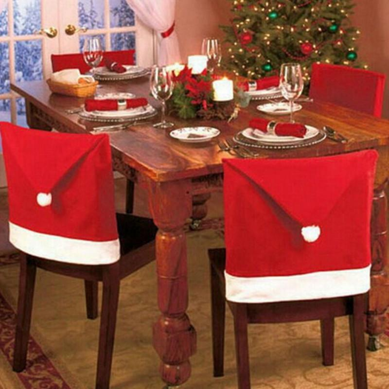 Christmas Chair Covers Decoration Santa Hat Dinner Decor Cap Claus