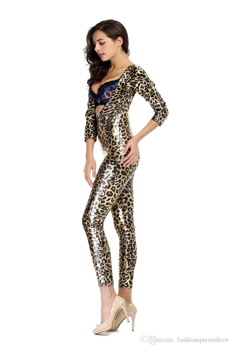 Leopard Animal Print Fancy Dress Sexy Femmes V Cou Zip Up Lingerie Body Combinaison Cosplay Party Catsuit
