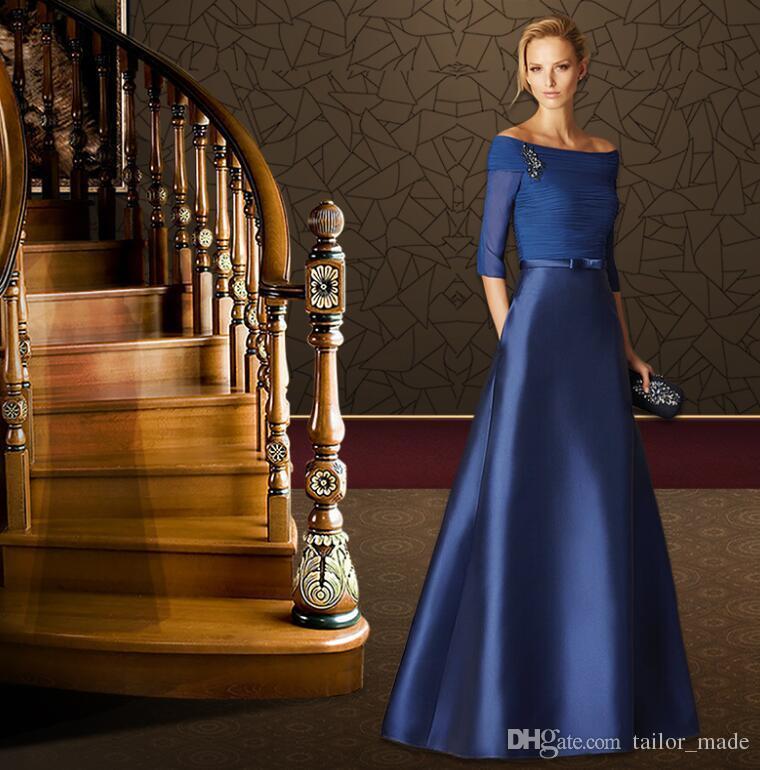Boat Neck Sexy Fashion 2019 Zipper Back Design Prom Dresses Robe de Soiree Evening Gowns