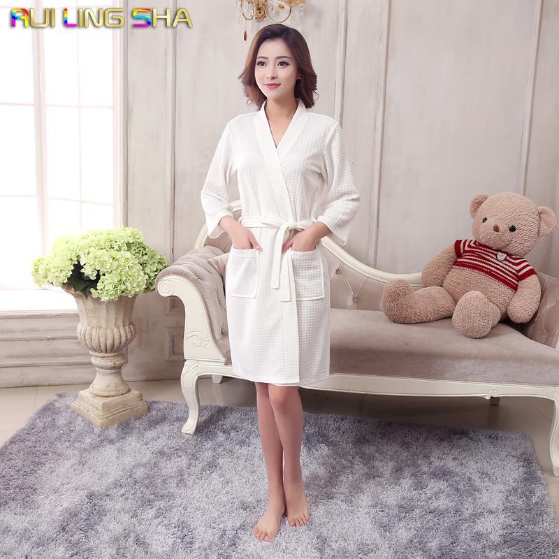 Wholesale- Towel Bath Robe Dressing Gown Unisex Men Women Sleeve Solid Cotton  Waffle Sleep Lounge Bathrobe Peignoir Nightgowns Lovers Robes Bathrobe Towel  ... 237ca5571