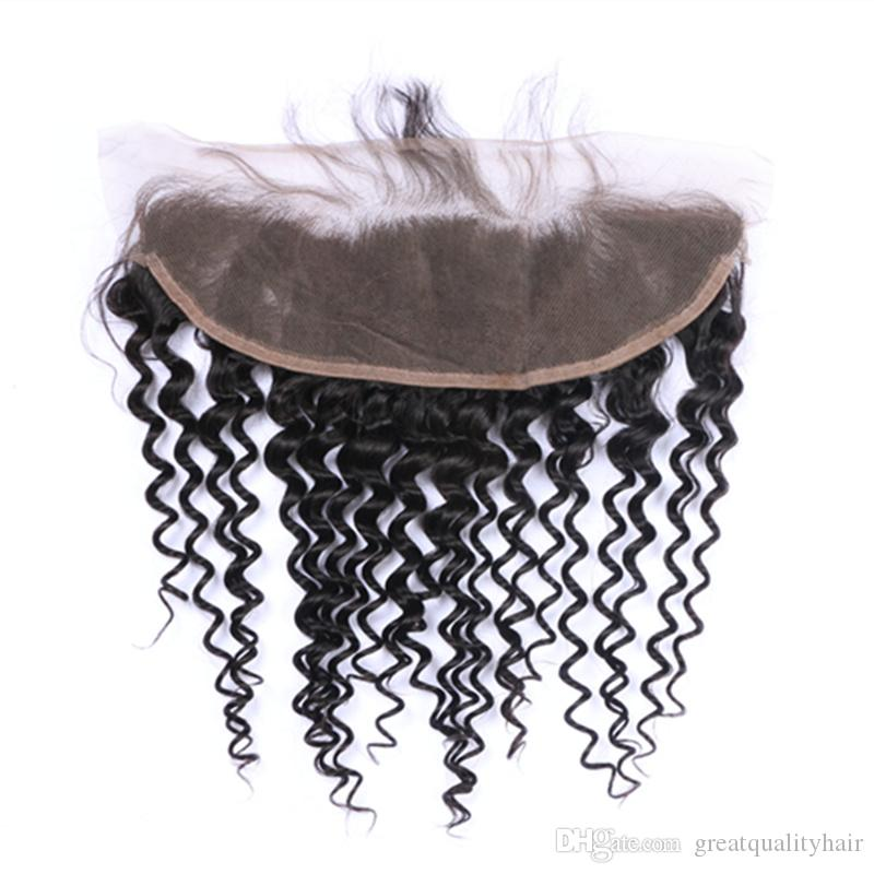 Can Be Dyed Ombre Color Brazilian Peruvian Indian 1B Color 13*4 Loose Curly Lace Frontal Human Virgin Remy Unprocessed Hair Extensions