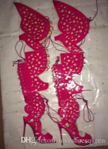 sandalias de mujer sexy sobre la rodilla sandalias de gladiador sandalias de mariposa botines de muslo botines de caña alta de tacón delgado peep toe